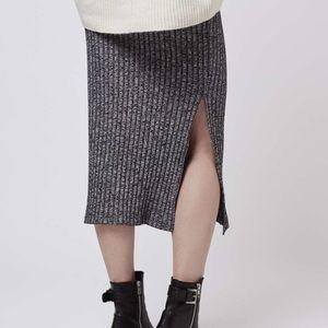 TopShop Ribbed Midi Pencil Skirt